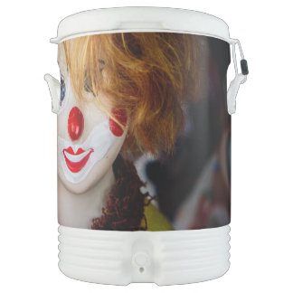 The smile on a clown toy cooler