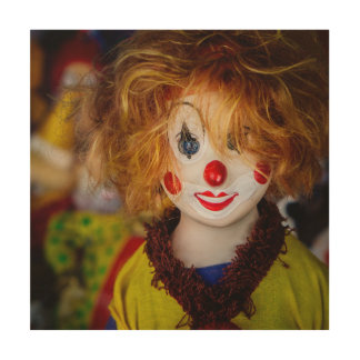 The smile on a clown toy wood print