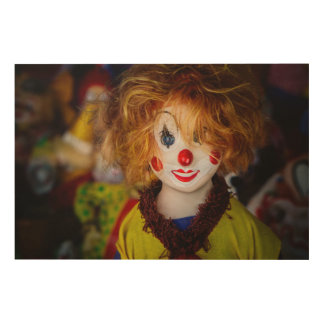 The smile on a clown toy wood wall art
