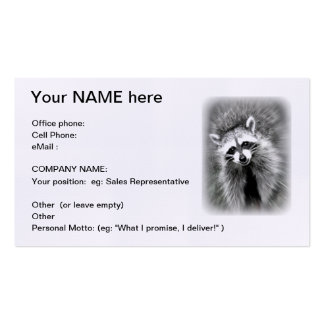The smiling raccoon business card