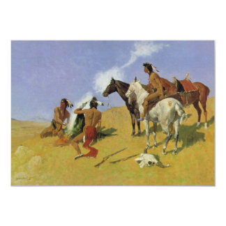 The Smoke Signal by Frederic Remington 5x7 Paper Invitation Card