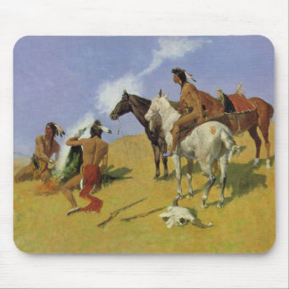 The Smoke Signal by Frederic Remington Mouse Pad
