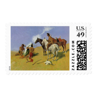 The Smoke Signal by Frederic Remington Postage Stamps