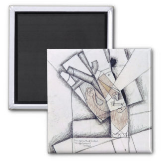 The Smoker, 1912 (charcoal & red chalk on paper) 2 Inch Square Magnet