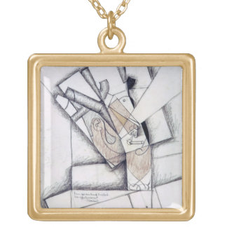 The Smoker, 1912 (charcoal & red chalk on paper) Square Pendant Necklace