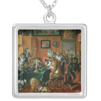 The Smoking Room with Monkeys Silver Plated Necklace