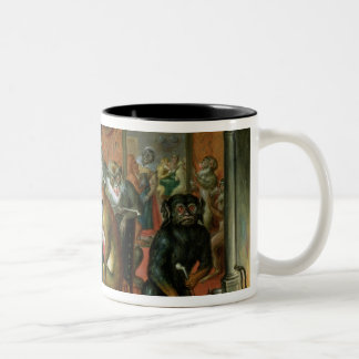 The Smoking Room with Monkeys Two-Tone Coffee Mug