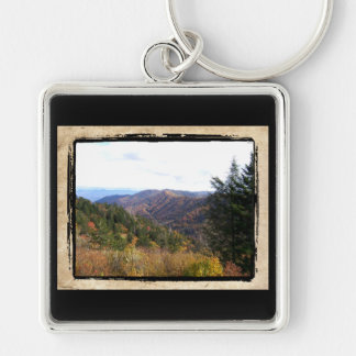 The Smoky Mountains Silver-Colored Square Keychain