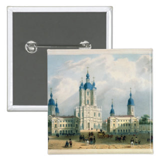 The Smolny Cloister in St. Petersburg 2 Inch Square Button