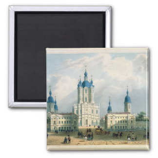 The Smolny Cloister in St. Petersburg 2 Inch Square Magnet
