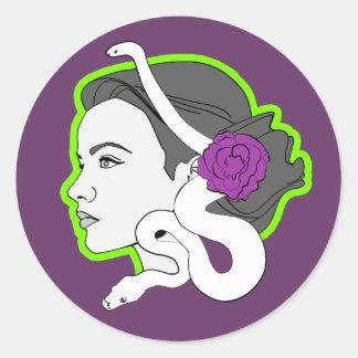 The Snake Lady Round Sticker