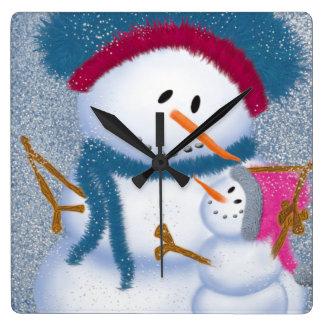 The SnowMomma And SnowGirl~ Square Wallclocks