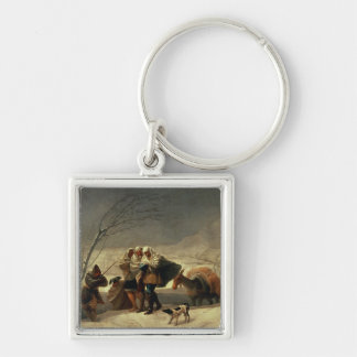 The Snowstorm, 1786-87 Silver-Colored Square Keychain