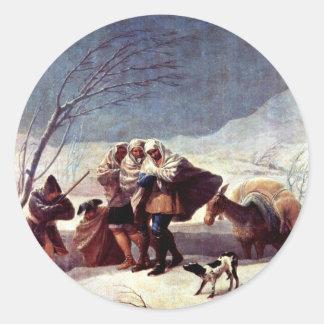 The Snowstorm (Winter).,  By Francisco De Goya Round Sticker