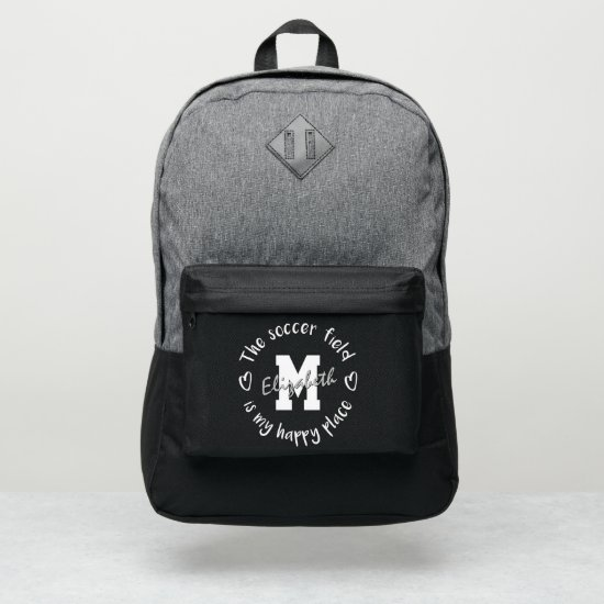The soccer field is my happy place custom port authority® backpack