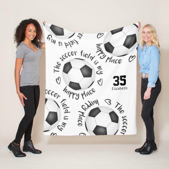 The soccer field is my happy place girls sports fleece blanket