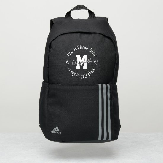 The softball field is my happy place custom adidas backpack