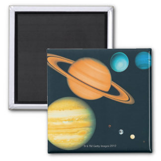 The Solar System 2 Inch Square Magnet