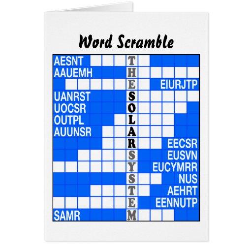 The Solar System Word Scramble Card