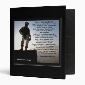 The Soldier's Creed Military Custom Text on Back 3 Ring Binder