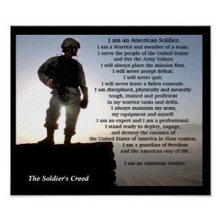 The Soldiers Creed Military Warrior Ethos Poster