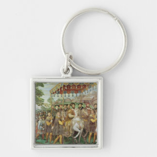 The Solemn Entrance of Emperor Charles V Silver-Colored Square Keychain