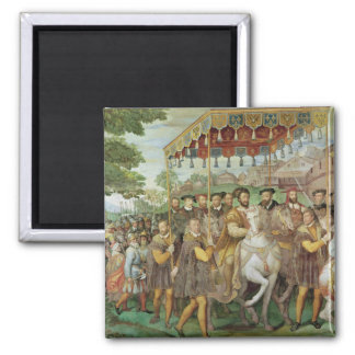 The Solemn Entrance of Emperor Charles V 2 Inch Square Magnet