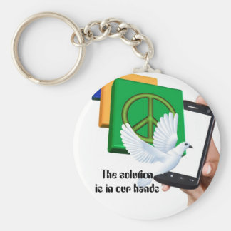The solution is in our hands keychains