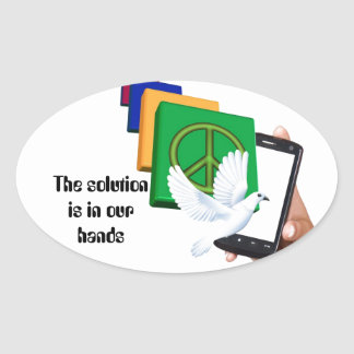 The solution is in our hands oval sticker