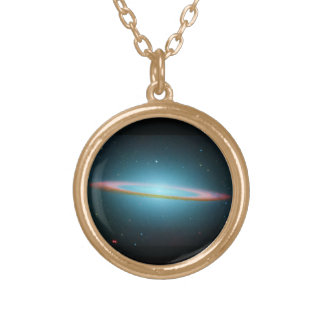 The Sombrero Galaxy - Infrared Gold Plated Necklace