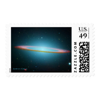The Sombrero Galaxy on Cards and Postcards Postage Stamp