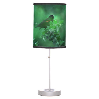 The Song, Bird Singing in Green Landscape Table Lamp
