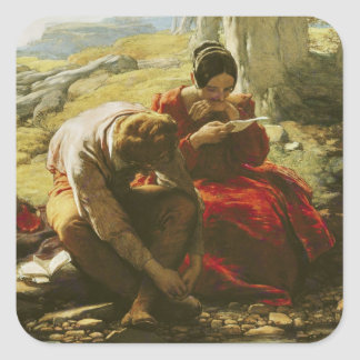 The Sonnet, 1839 (oil on panel) Square Sticker