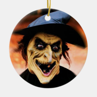 The sorci�re of Halloween - Ceramic Ornament
