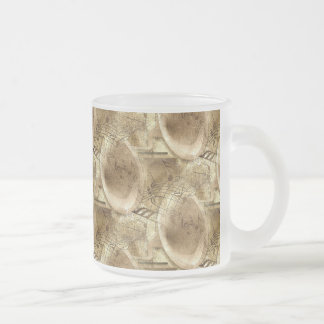 The Sound of Musical Notes from a Phonograph Music Frosted Glass Coffee Mug