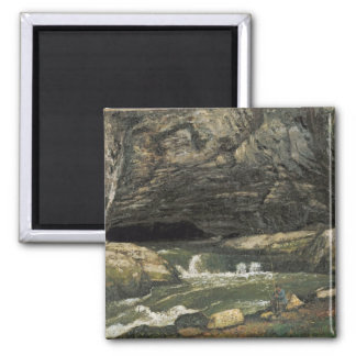 The Source of the Loue or La Grotte Sarrazine 2 Inch Square Magnet