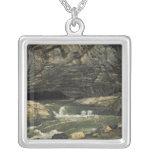 The Source of the Loue or La Grotte Sarrazine Square Pendant Necklace