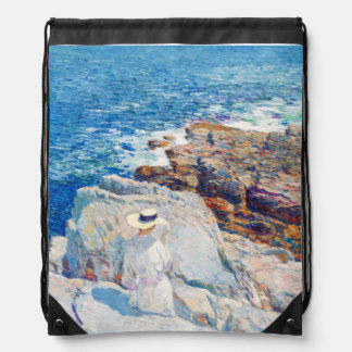 The South Ledges, Appledore by Childe Hassam Drawstring Backpack