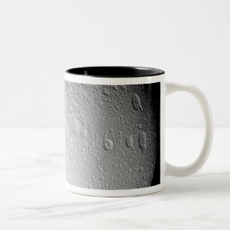 The South Pole of Saturn's moon Tethys Two-Tone Coffee Mug