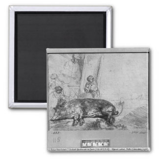 The Sow, 1643 2 Inch Square Magnet