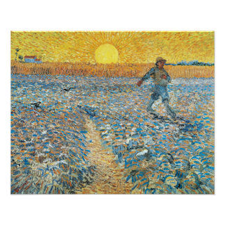 The Sower at Sunset Poster