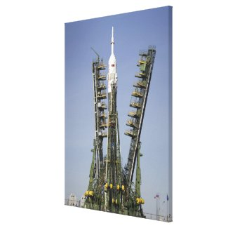 The Soyuz rocket is erected into position 4 Canvas Print
