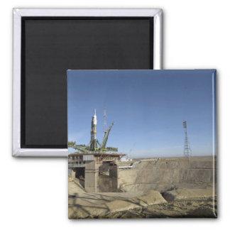 The Soyuz rocket is erected into position 5 Refrigerator Magnet