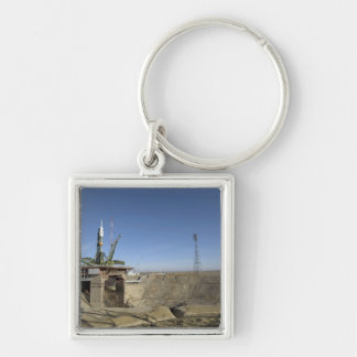 The Soyuz rocket is erected into position 5 Silver-Colored Square Keychain