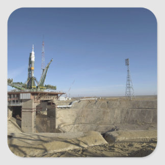 The Soyuz rocket is erected into position 5 Square Sticker