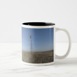 The Soyuz rocket is erected into position 5 Two-Tone Coffee Mug