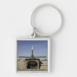 The Soyuz rocket is erected into position 6 Silver-Colored Square Keychain