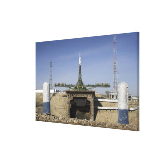 The Soyuz rocket is erected into position Stretched Canvas Prints