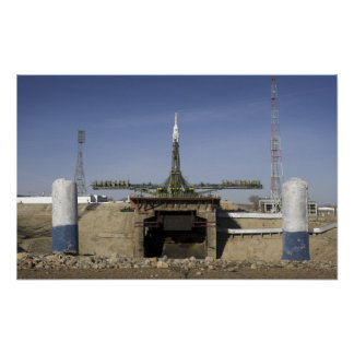 The Soyuz rocket is erected into position Print