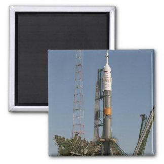 The Soyuz rocket shortly after arrival 2 Inch Square Magnet